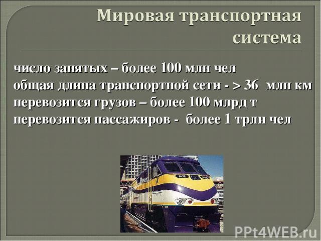 число занятых – более 100 млн чел общая длина транспортной сети - > 36 млн км перевозится грузов – более 100 млрд т перевозится пассажиров - более 1 трлн чел а автор: Карезина Нина Валентиновна