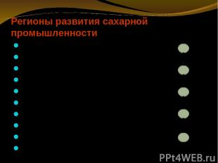 Регионы развития сахарной промышленности Санкт-Петербург (рубеж XVIII- XIX вв.)
