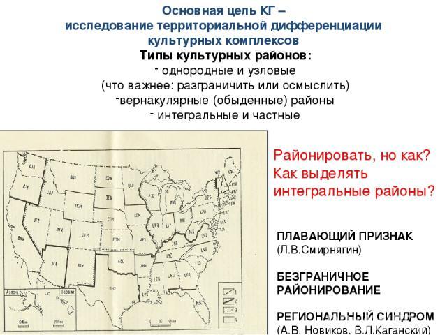 Районировать, но как? Как выделять интегральные районы? Основная цель КГ – исследование территориальной дифференциации культурных комплексов Типы культурных районов: однородные и узловые (что важнее: разграничить или осмыслить) вернакулярные (обыден…