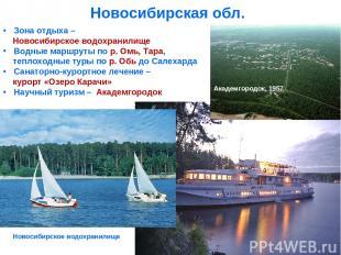 Новосибирская обл. Зона отдыха – Новосибирское водохранилище Водные маршруты по