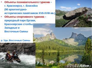 Объекты познавательного туризма – г. Красноярск, г. Енисейск (90 архитектурно- и