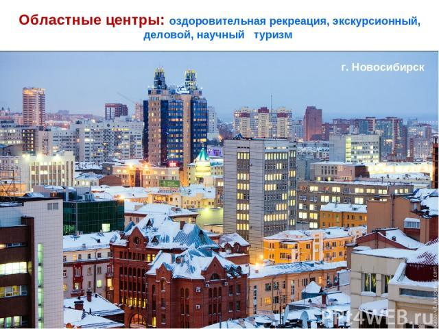 Областные центры: оздоровительная рекреация, экскурсионный, деловой, научный туризм Академгородок, Новосибирск (с 1957) г. Новосибирск