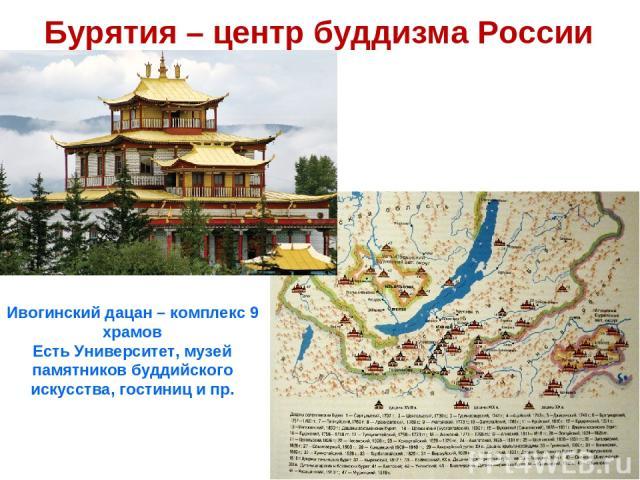 Бурятия – центр буддизма России Ивогинский дацан – комплекс 9 храмов Есть Университет, музей памятников буддийского искусства, гостиниц и пр.