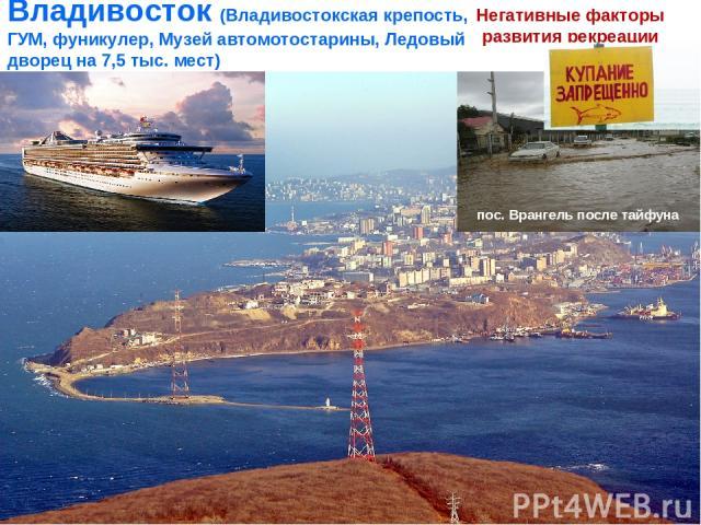 Владивосток (Владивостокская крепость, ГУМ, фуникулер, Музей автомотостарины, Ледовый дворец на 7,5 тыс. мест) Негативные факторы развития рекреации пос. Врангель после тайфуна