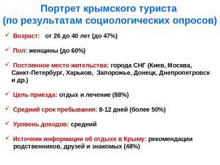 Портрет крымского туриста (по результатам социологических опросов) Возраст: от 2