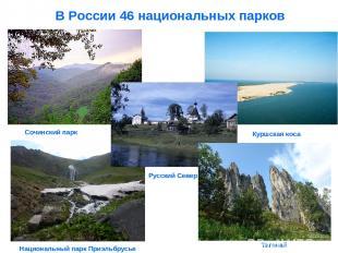 В России 46 национальных парков Таганай Сочинский парк Национальный парк Приэльб