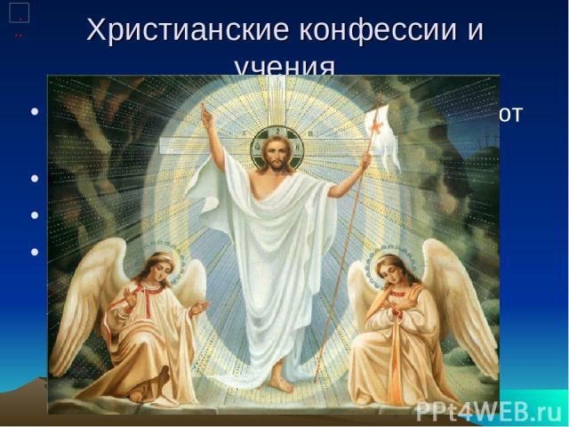 Христианские конфессии и учения В наши дни в христианстве существуют следующие основные направления: Католицизм Православие Протестантизм