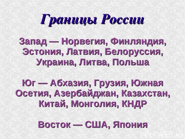 Границы России Запад — Норвегия, Финляндия, Эстония, Латвия, Белоруссия, Украина, Литва, Польша Юг — Абхазия, Грузия, Южная Осетия, Азербайджан, Казахстан, Китай, Монголия, КНДР Восток — США, Япония