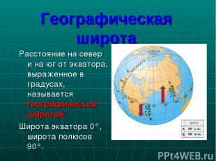 Расстояние на север и на юг от экватора, выраженное в градусах, называется геогр