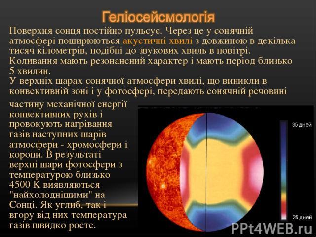 Поверхня сонця постійно пульсує. Через це у сонячній атмосфері поширюються акустичні хвилі з довжиною в декілька тисяч кілометрів, подібні до звукових хвиль в повітрі. Коливання мають резонансний характер і мають період близько 5 хвилин. У верхніх ш…