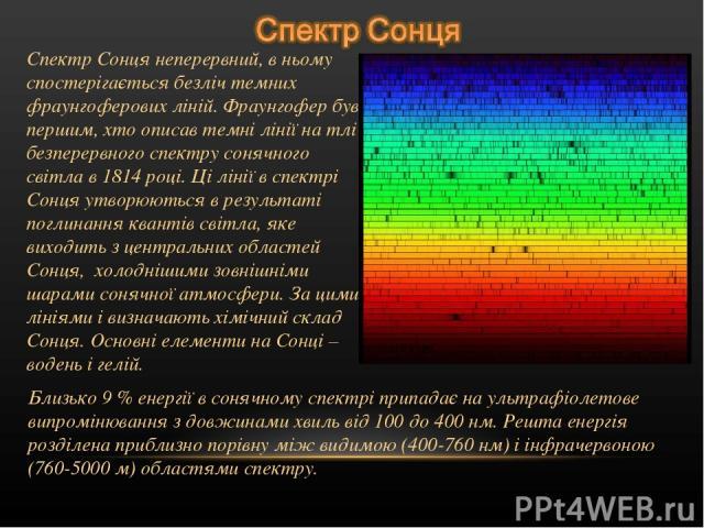 Спектр Сонця неперервний, в ньому спостерігається безліч темних фраунгоферових ліній. Фраунгофер був першим, хто описав темні лінії на тлі безперервного спектру сонячного світла в 1814 році. Ці лінії в спектрі Сонця утворюються в результаті поглинан…