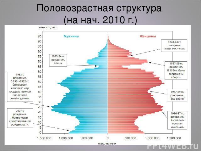Половозрастная структура (на нач. 2010 г.)
