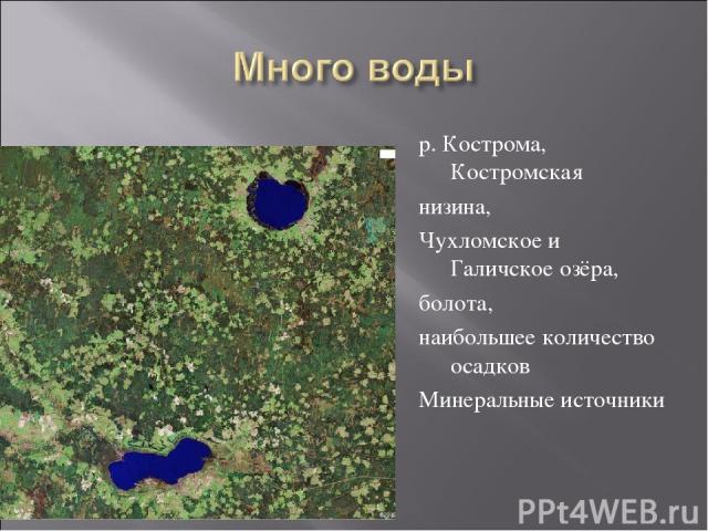 р. Кострома, Костромская низина, Чухломское и Галичское озёра, болота, наибольшее количество осадков Минеральные источники