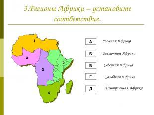 3.Регионы Африки – установите соответствие. А Б В Г Д Южная Африка Восточная Афр