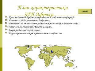 План характеристики ЭГП Африки Протяжённость и размеры территории и отдельных го