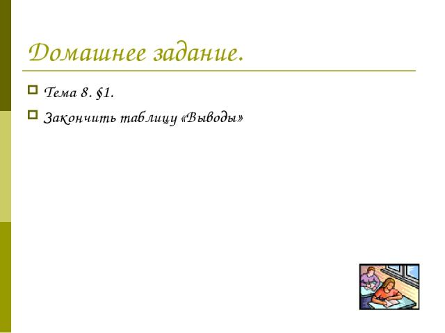 Домашнее задание. Тема 8. §1. Закончить таблицу «Выводы»