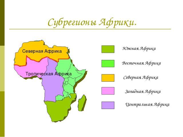 Субрегионы Африки. Южная Африка Восточная Африка Северная Африка Западная Африка Центральная Африка Северная Африка Тропическая Африка