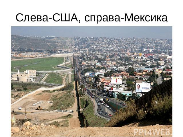 Слева-США, справа-Мексика
