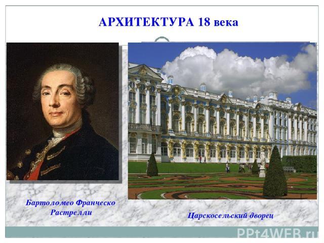 АРХИТЕКТУРА 18 века Бартоломео Франческо Растрелли Царскосельский дворец