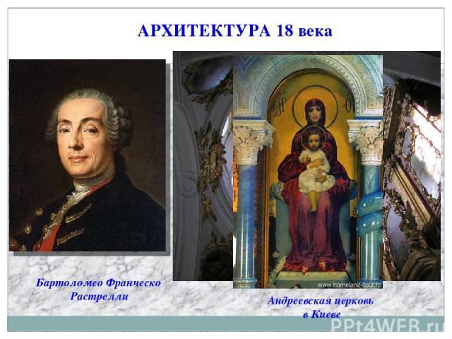 АРХИТЕКТУРА 18 века Бартоломео Франческо Растрелли Андреевская церковь в Киеве