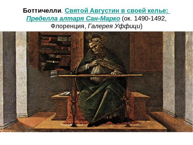 Боттичелли. Святой Августин в своей келье: Пределла алтаря Сан-Марко (ок.1490-1492, Флоренция, Галерея Уффици) т