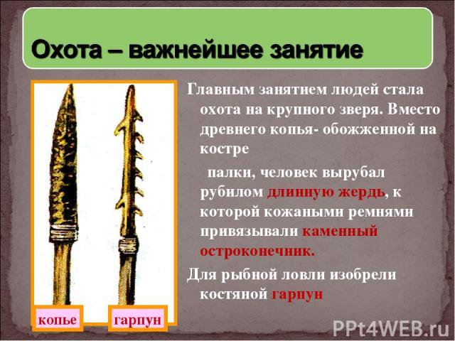 Главным занятием людей стала охота на крупного зверя. Вместо древнего копья- обожженной на костре палки, человек вырубал рубилом длинную жердь, к которой кожаными ремнями привязывали каменный остроконечник. Для рыбной ловли изобрели костяной гарпун …