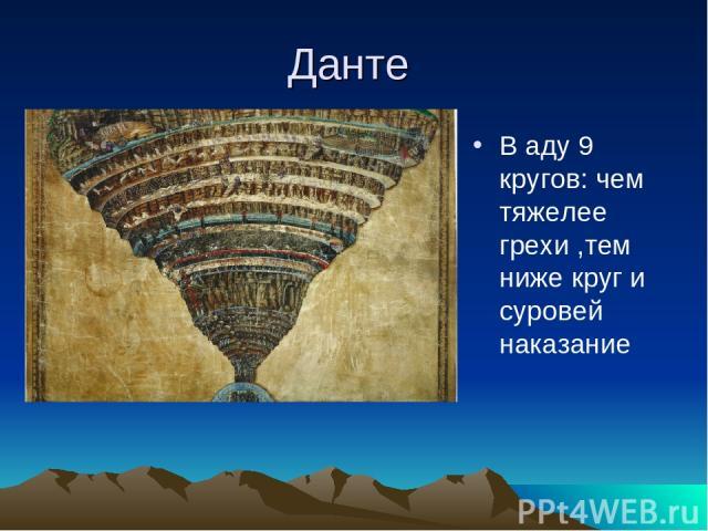 Данте В аду 9 кругов: чем тяжелее грехи ,тем ниже круг и суровей наказание
