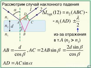 11 Рассмотрим случай наклонного падения из-за отражения в т.А (n2 > n1)