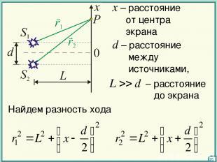 d – расстояние между источниками, x – расстояние от центра экрана Найдем разност