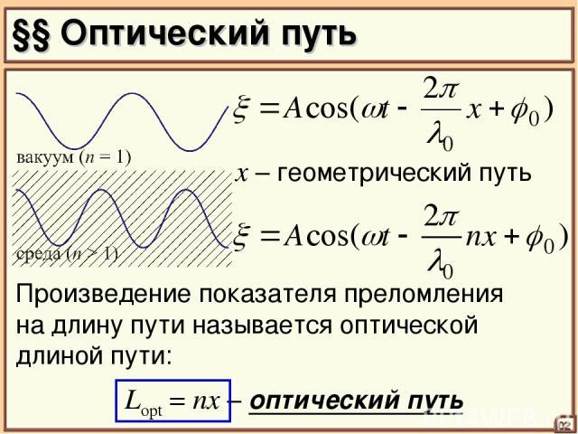 §§ Оптический путь 02 x – геометрический путь Lopt = nx – оптический путь Произведение показателя преломления на длину пути называется оптической длиной пути: