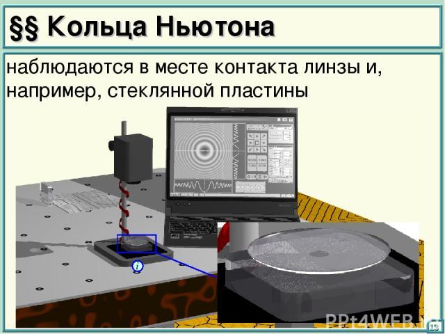 §§ Кольца Ньютона 13 наблюдаются в месте контакта линзы и, например, стеклянной пластины