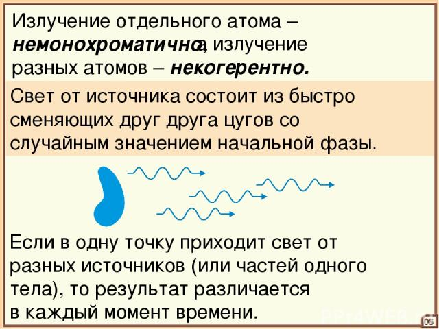 06 Излучение отдельного атома – немонохроматично, а излучение разных атомов – некогерентно. Свет от источника состоит из быстро сменяющих друг друга цугов со случайным значением начальной фазы. Если в одну точку приходит свет от разных источников (и…