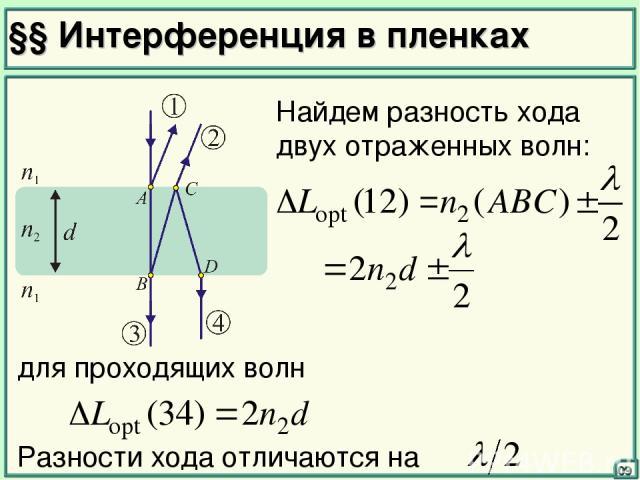 §§ Интерференция в пленках 09 Найдем разность хода двух отраженных волн: для проходящих волн Разности хода отличаются на