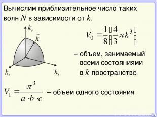 20 Вычислим приблизительное число таких волн N в зависимости от k. – объем, зани