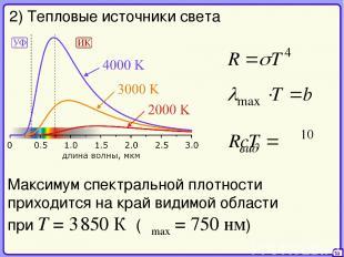 35 2) Тепловые источники света Максимум спектральной плотности приходится на кра