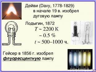 36 Дейви (Davy, 1778-1829) в начале 19 в. изобрел дуговую лампу Лодыгин, 1872 T