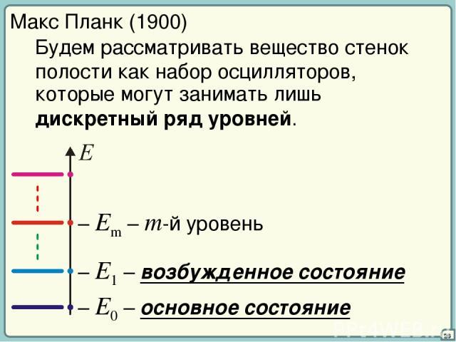 26 Макс Планк (1900) Будем рассматривать вещество стенок полости как набор осцилляторов, которые могут занимать лишь дискретный ряд уровней. – E0 – основное состояние – E1 – возбужденное состояние – Em – m-й уровень