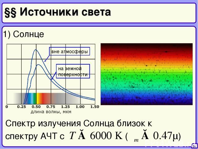 §§ Источники света 34 1) Солнце Спектр излучения Солнца близок к спектру АЧТ с T ≈ 6000 K (λm ≈ 0.47μ)