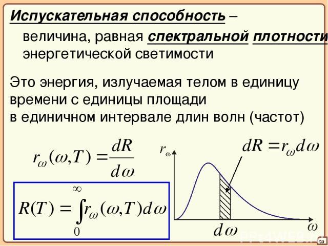 09 Испускательная способность – величина, равная спектральной плотности энергетической светимости Это энергия, излучаемая телом в единицу времени с единицы площади в единичном интервале длин волн (частот)