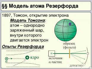 §§ Модель атома Резерфорда 29 1897, Томсон, открытие электрона Модель Томсона: а