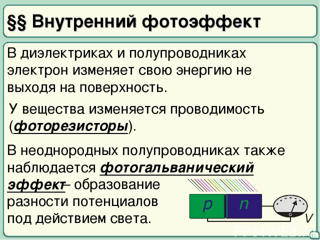 §§ Внутренний фотоэффект 11 В диэлектриках и полупроводниках электрон изменяет свою энергию не выходя на поверхность. У вещества изменяется проводимость (фоторезисторы). В неоднородных полупроводниках также наблюдается фотогальванический эффект – об…