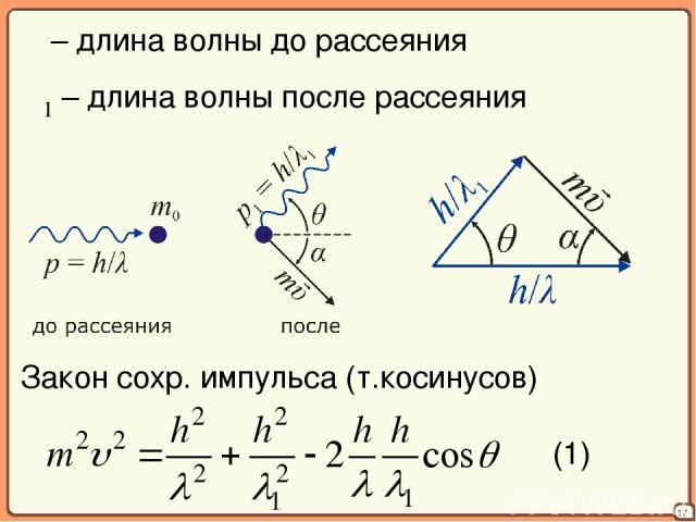 17 λ – длина волны до рассеяния λ1 – длина волны после рассеяния Закон сохр. импульса (т.косинусов) (1)