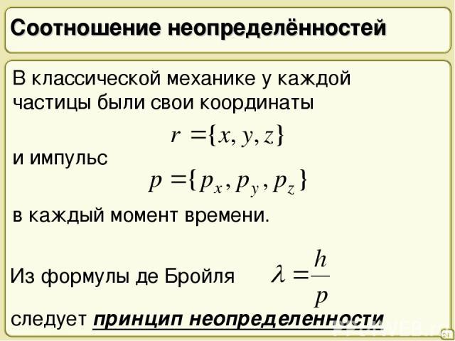 Соотношение неопределённостей 24 В классической механике у каждой частицы были свои координаты и импульс в каждый момент времени. следует принцип неопределенности Из формулы де Бройля