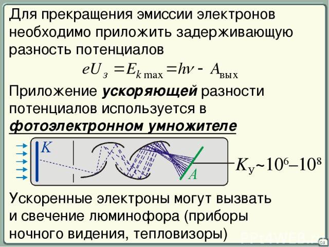 08 Для прекращения эмиссии электронов необходимо приложить задерживающую разность потенциалов Приложение ускоряющей разности потенциалов используется в фотоэлектронном умножителе Ускоренные электроны могут вызвать и свечение люминофора (приборы ночн…