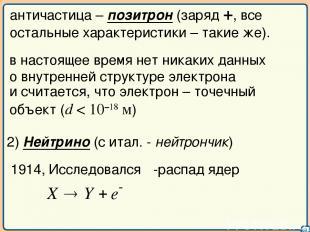 03 античастица – позитрон (заряд +, все остальные характеристики – такие же). и