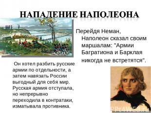 Он хотел разбить русские армии по отдельности, а затем навязать России выгодный