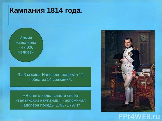 Кампания 1814 года. За 3 месяца Наполеон одержал 12 побед из 14 сражений. Армия Наполеона- 47 000 человек «Я опять надел сапоги своей итальянской кампании» – вспоминал Наполеон победы 1796- 1797 гг.