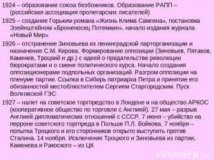 1924 – образование союза безбожников. Образование РАПП – (российская ассоциация