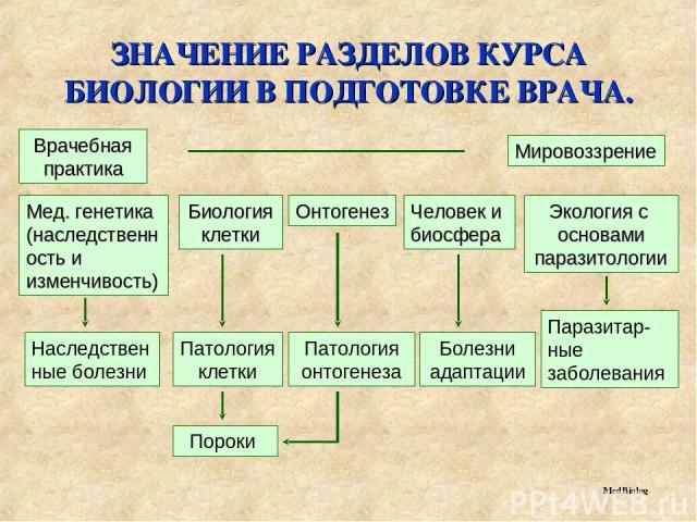 ЗНАЧЕНИЕ РАЗДЕЛОВ КУРСА БИОЛОГИИ В ПОДГОТОВКЕ ВРАЧА. MedBiolog