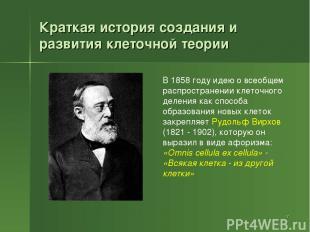 Краткая история создания и развития клеточной теории * В 1858 году идею о всеобщ